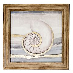 New View Metallic Turning Seashell Framed Wall Art