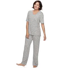 Women's Croft & Barrow® Pajamas: Brushed Knit Tee & Pants PJ Set