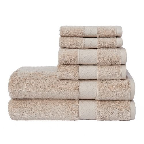 Loft by Loftex Lattice Solid 6-piece Bath Towel Set