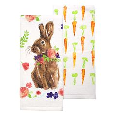 Celebrate Easter Together Natural Bunny Kitchen Towel 2 pk