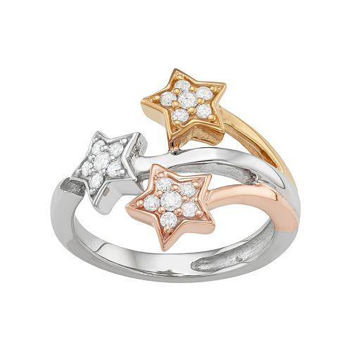 Tri Tone Sterling Silver 1/3 Carat T.W. Diamond Star Ring