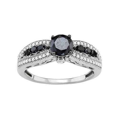 Sterling Silver 1 Carat T.W. Black & White Diamond Engagement Ring