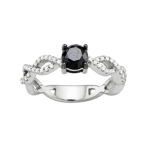 Sterling Silver 1 Carat T.W. Black & White Diamond Twist Engagement Ring