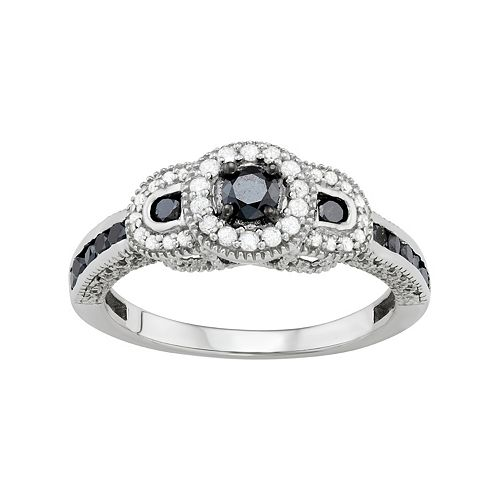Sterling Silver 1/2 Carat T.W. Black & White Diamond 3-Stone Halo Ring