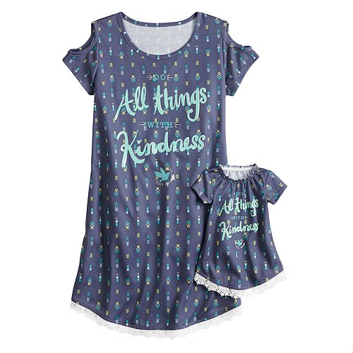 Girls 5-14 American Girl Cold Shoulder Dorm Nightgown & Doll Nightgown