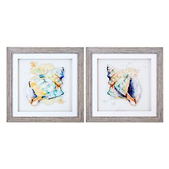 New View Watercolor Conches Framed Wall Art 2 pc Set