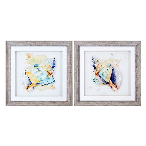 New View Watercolor Conches Framed Wall Art 2-piece Set