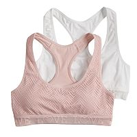 Girls SO® 2 pkLace & Solid Racerback Sports Bras