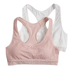 Girls SO® 2-pk. Lace & Solid Racerback Sports Bras