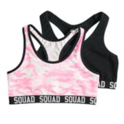 Girls SO® 2-pk. Tie-Dye & Solid Racerback Sports Bras
