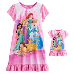 Disney Princess Ariel, Rapunzel, Cinderella, Jasmine & Belle Girls 4-8 Nightgown & Doll Gown Set