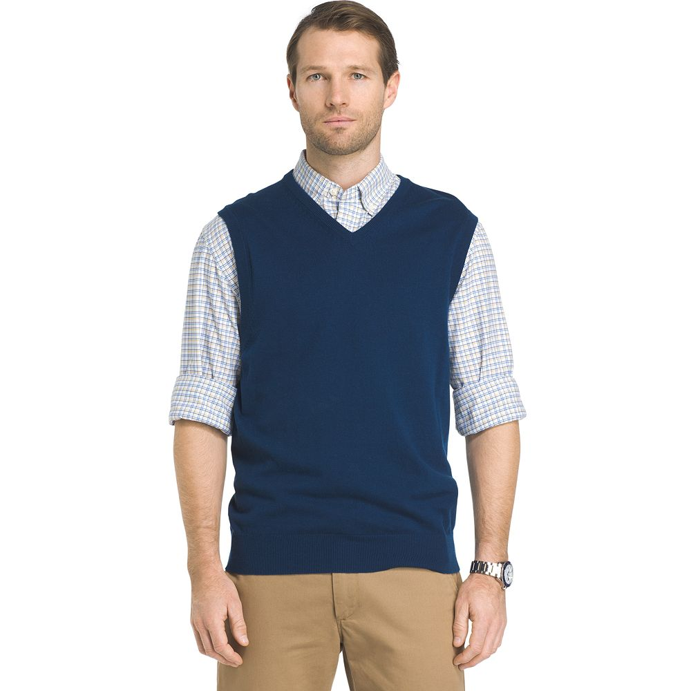& Tall IZOD Regular-Fit Wool-Blend V-Neck Sweater Vest