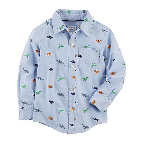 56ae7f154 Toddler Boy Carter's Dinosaur Woven Button Down Shirt