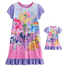 Girls 4-10 My Little Pony Friendship is Magic Ponies & Spike Graphic Nightgown & Doll Gown Set