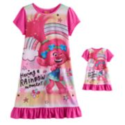 "DreamWorks Trolls Poppy Girls 4-10 ""Having a Rainbow Moment"" Nightgown & Doll Gown Set"