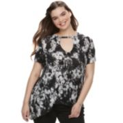 Juniors' Plus Size Mudd® Keyhole Asymmetrical Top