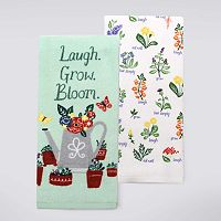 Celebrate Spring Together Laugh Grow Bloom Kitchen Towel 2-pk.