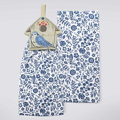 Celebrate Spring Together Birdhouse Tie-Top Kitchen Towel 2 pk
