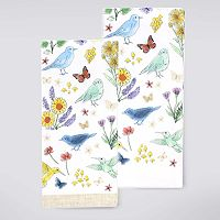 Celebrate Spring Together Birds & Flowers Kitchen Towel 2 pk