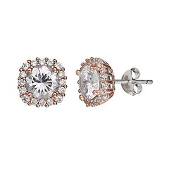 PRIMROSE Two Tone Sterling Silver Cubic Zirconia Square Halo Stud Earrings