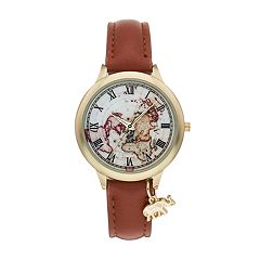 Women's Elephant Charm & World Map Watch