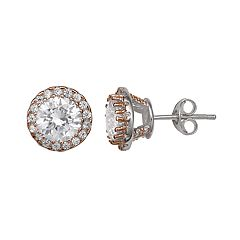 PRIMROSE Two Tone Sterling Silver Cubic Zirconia Halo Stud Earrings