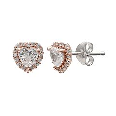 PRIMROSE Two Tone Sterling Silver Cubic Zirconia Heart Halo Stud Earrings