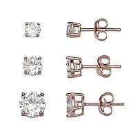 PRIMROSE Rose Gold Tone Sterling Silver Cubic Zirconia Stud Earring Set