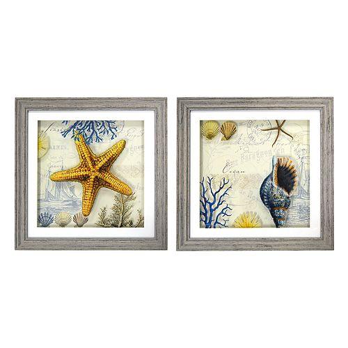 New View Antique Shells Framed Wall Art 2-piece Set
