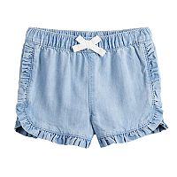 Baby Girl Jumping Beans® Ruffled Dolphin-Hem Chambray Shorts