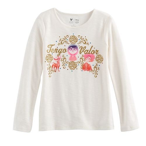 """Disney / Pixar Coco Girls 4-7 Glittery """"Tengo Valor"""" Graphic Tee by Jumping Beans®"""