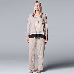 Plus Size Simply Vera Vera Wang In the Clouds 3/4 Sleeve Sleep Set