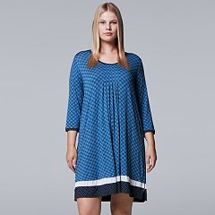 Plus Size Simply Vera Vera Wang In the Clouds 3/4 Sleeve Sleepshirt