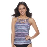 Mix and Match Tribal High-Neck Tankini Top