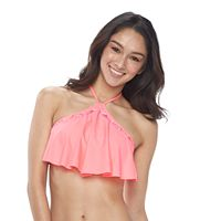 Mix and Match High-Neck Flounce Halter Bikini Top