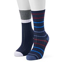 Women's Unionbay 2 pkRibbed Striped Crew Socks