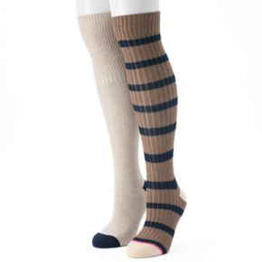 Women's Unionbay 2-pk. Rugby Striped Over-the-Knee Socks