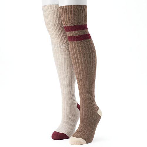 Women's Unionbay 2-pk. Varsity Striped Over-the-Knee Socks