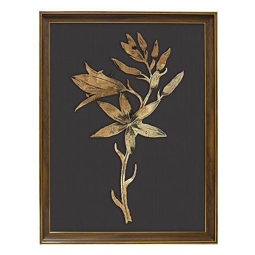 New View Metallic Botanical Flower Framed Wall Art