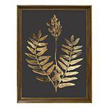 New View Metallic Botanical Leaf Framed Wall Art