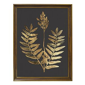 New View Metallic Botanical Leaf Framed Wall Art