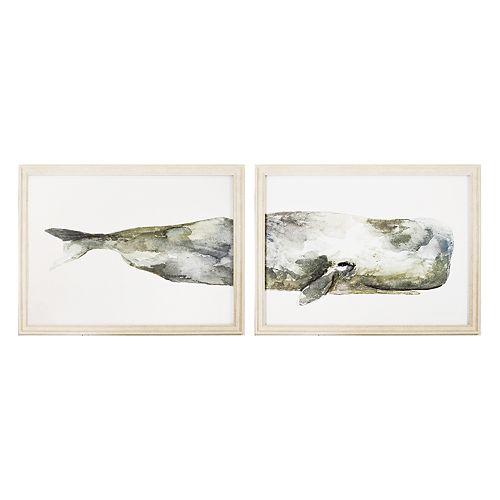 New View Whale Framed Wall Art 2-piece Set