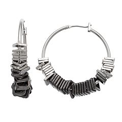 Simply Vera Vera Wang Square Bead Nickel Free Hoop Earrings