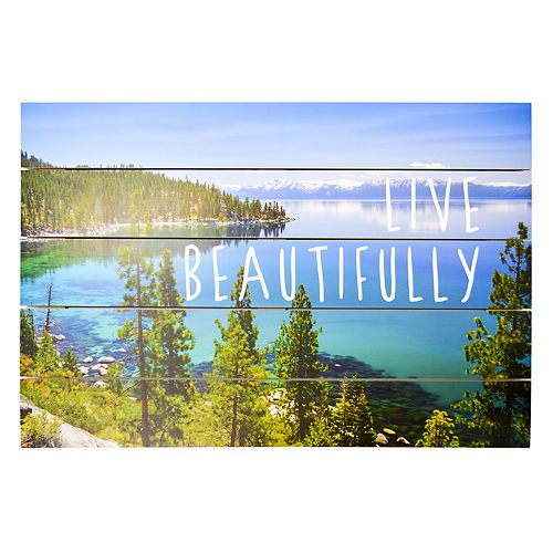 """New View """"Live Beautifully"""" Planked Wall Decor"""