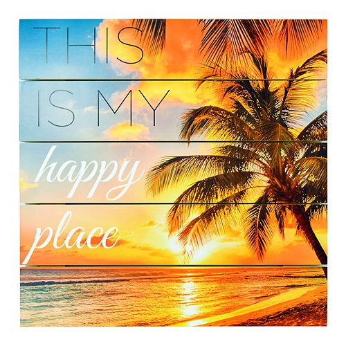 """New View """"Happy Place"""" Planked Wall Decor"""