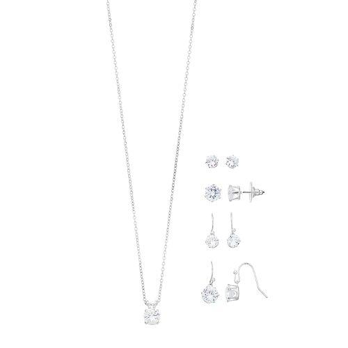 Silver Tone Cubic Zirconia Nickel Free Earring & Necklace Set