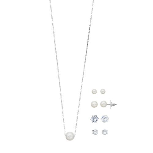 Silver Tone Cubic Zirconia & Simulated Pearl Nickel Free Earring And Necklace Set