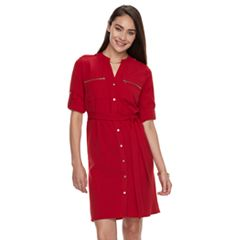 Women's Sharagano Zipper-Accent Shirtdress