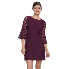 Women's Sharagano Bell Sleeve Lace Shift Dress