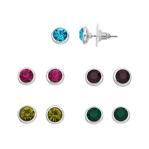 Multi Colored Simulated Crystal Nickel Free Stud Earring Set